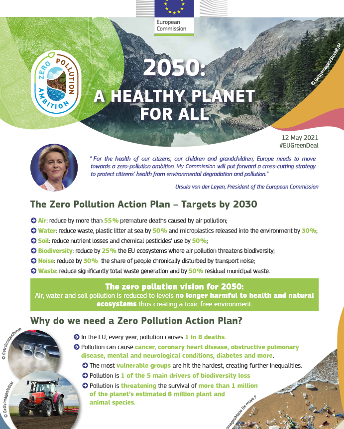 Factsheet from European Commission: Commission aims for zero pollution in air, water and soil!