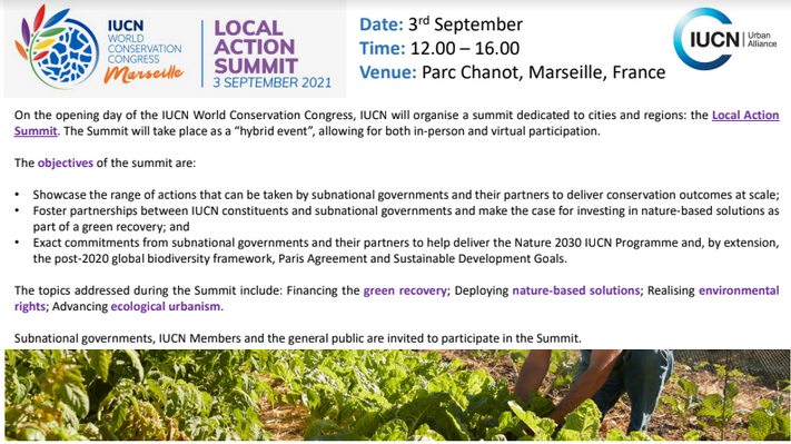 Invitation to the IUCN Local Action Summit - 3 September 2021!