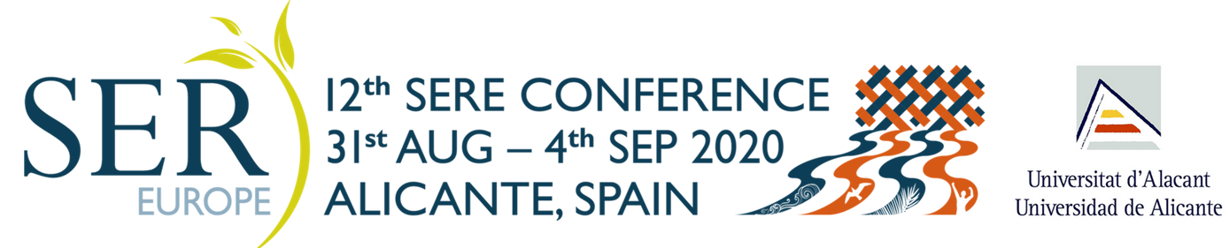 SERE2020 - 12th European Conference on Ecological Restoration Alicante, Spain - August 31 - September 4, 2020