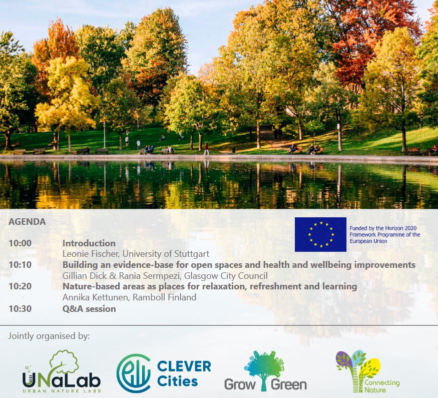 The importance of urban green and blue spaces for mental health webinar
